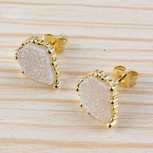 Joyería de cristal Natural Crystal Druzy Pendientes Forma irregular Pendiente del perno prisionero Chapado en oro Encantos Accesorios para el oído Joyería para mujeres