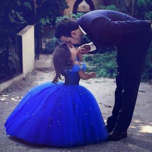 Kraliyet Mavi Çiçek Kız Elbise Düğün için Külkedisi Kız Elbise Prenses Çocuk Parti Balo İlk Communion Elbise