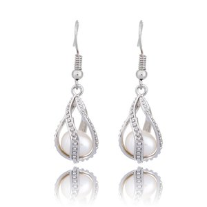 Silber Spiral Drop baumeln Ohrringe Mode Perle Käfig Anhänger Ohrringe mit Oyster Pearl Frauen Medaillon Schmuck