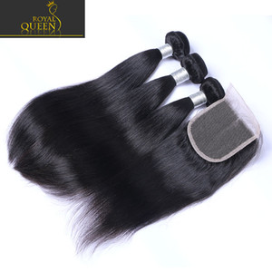 Top Cabelo Indiano com 3 Bundles Brazilian Human Hair Malaysian Tece Peruano 8A Laço Fecho de Laço Grade Straight Brazillian Virgin Clo Fmkru