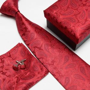 클래식 페이즐리 넥 넥타이 포켓 광장 핸키 세트 정장 파티 웨딩 남성 실크 넥타이 포켓 광장 Cravat 핑크 넥타이