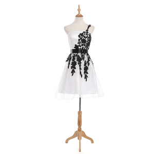 Real Photo A Line One Shoulder Balck And White Mini Short Homecoming Dresses Strapless cocktail Party Gowns