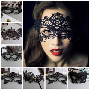 Mascaras Halloween Props Sexy Lace Party Masquerade Masks Venetian Costume Multi Patterns Black Lace Sexy Masquerade Masks