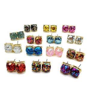 Free Shipping Fashion 10 Colors 10mm Square Glitter Mixed Color Sparkles Stunning Stud Earrings For lady Brand