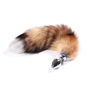2.7*7.0cm Fox Tail butt plug 48cm long Anal Plug Metal Butt Plug Anal tail Sex Toy sex game role play toy