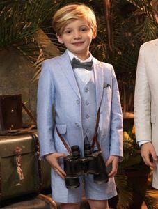 ثلاث قطع البدلات الرسمية الزفاف للبنين المراهقين الدعاوى مخصص الاطفال زفاف رسمي ارتداء السراويل القصيرة