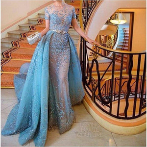 De luxe Superbe 2017 Bleu Zuhair Murad Robe De Soirée Manches Courtes Sirène Prom robes De Dentelle Applique Perlé Tulle Robe De Fête