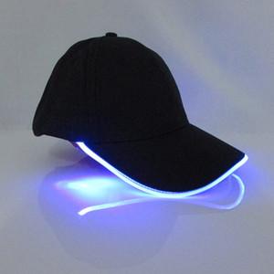 Cappuccio luminoso con cappello leggero da baseball a LED Cappuccio leggero regolabile Cappellino da sole in cotone Cap + PU Guida fibra leggera