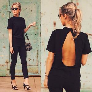 도매 - 패션 여성 숙녀 의류 티셔츠 여름 느슨한 탑 짧은 소매 Backless 블랙 숙녀 캐주얼 탑스 티셔츠