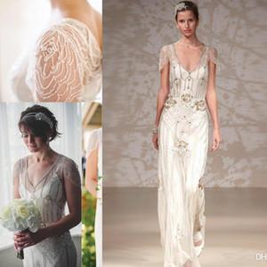 Gatsby grande país do vintage de cristal vestidos de noiva jenny packham sparkly cap manga comprimento total jardim a linha de vestidos de casamento