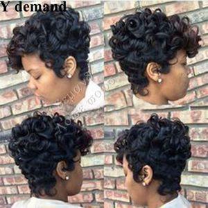 Synthèse de Cheveux Synthétiques Perruques Humaines Brésiliennes La plus Nouvelle Perruque Afro Bouclée Cheveux Noirs De Mode BOB Perruque Courte Perruques Complètes En stock