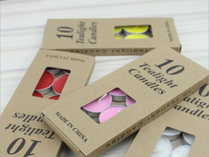 10 pcs package Candle Favors TEALIGHTS CANDLES Colored candle kraft paper box DIY candle Valentine's day romantic love swing chart WQ04