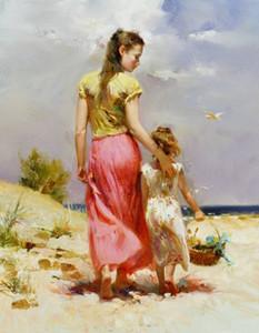Pino Seaside Walk Mãe Filha, Famoso Pintado À Mão Impressionismo Art Pintura A Óleo de Alta Qualidade tamanho da Lona pode ser personalizado Frete Grátis