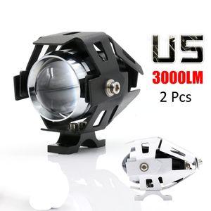 2x 125W 2 Color Impermeable Motocicleta LED Faros 3000LM CREE U5 Moto LED Conduciendo Niebla Spot Spot Lámpara de Luz de Cabeza MOT_200