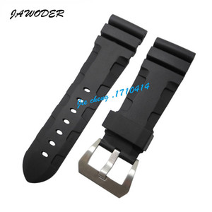 JAWODER Watchband 24mm 26mm (Buckle 22mm) Men Black Diving Silicone Rubber Watch Band Strap Stainless Steel Pin Buckle