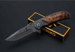 enorme del tamaño Browning 338 Cuchillo total del grano del leopardo longitud de 20.2cm de bolsillo plegable del cuchillo de caza de la supervivencia de la herramienta plegable de la lámina Cuchillos, Herramienta de mano