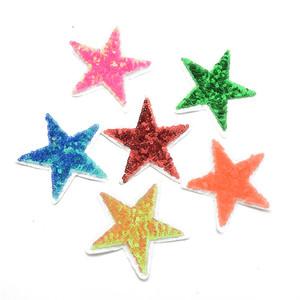 6colors Brillant Sequin baiser coeur étoile fer brodé sur Patches Vêtements Paillettes Patch Paillettes bricolage vêtement artisanal