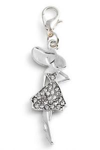 20pcs / lot argent plaqué strass fille pendentif flottant charmes avec homard fermoir fit pour chaîne collier médaillon Fabrication