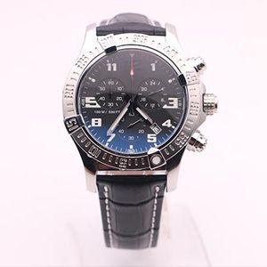 DHgate выбранный поставщик горячие продажи часы мужчины Seawolf Chrono черный циферблат черный кожаный ремень часы кварцевые часы мужские часы платье