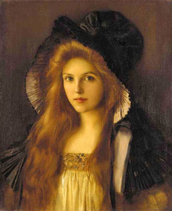 Albert Lynch - Beautiful young Woman in a very big hat,Hand painted portrait Art Oil Painting On Thick Canvas,Multi sizes available P0018