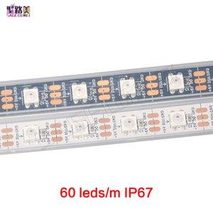 60leds / m 2812B 픽셀 DIGITALE 드림 컬러 LED 유연한 스트립 라이트 WS2812 픽셀 스트립 / 흑백 PCB 방수 비 방수 IP67 / IP20