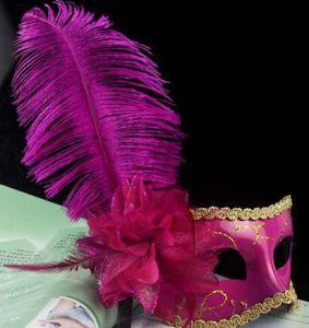 2016 Women Girls Ostrich Feather Mask Crystal Diamond Lace Mask Venetian Mask Masquerade Masks Mardi Gras Masks Party Masks