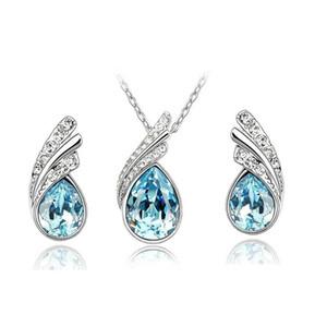 Conjunto de joyería nupcial de calidad superior, collar de aretes de cristal austriaco, collar de diamantes de imitación, pendiente de perno prisionero para mujeres, joyería de fiesta de bodas