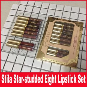 Stila Star-studded Eight Stay Days Set de lápiz labial líquido 8 piezas / caja Larga duración Cremoso Brillo Lápiz labial líquido Brillo de labios
