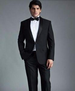 Neue Stil Männer Anzüge Für Hochzeit hübsche Bräutigam Smoking anzüge Zweiteilige schwarze revers Männer Anzüge prom anzüge (jacke + hose)