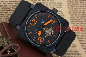 Новые мужские из нержавеющей стали черный резиновый Белл PVD BR Автоматическая Механическая Self-ветер часы Скелет проколол Hollow турбийон часы