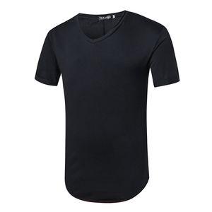 Online alışveriş katı siyah renk t shirt erkekler 2017 V boyun M ~ XXL erkekler için son t shirt tasarımları