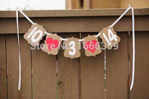 Al por mayor- Envío gratuito 1 juego nuevo hecho a mano Kraft Custom Save The Date Wedding Banner Photo Booth Props Wedding Sign Party Decoration Prop