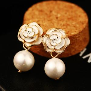 moda pendientes flor de camelia elegante caída de los accesorios del banquete de boda para las mujeres de novia rosa perlas de oro pendientes del perno prisionero de