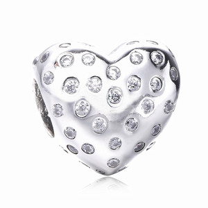 Diy Fit Original Pandora Bracelet Real 100% 925 Sterling Silver Heart Charm With Cubic Zircon For Women Fine Jewelry Making Diy Wholesale
