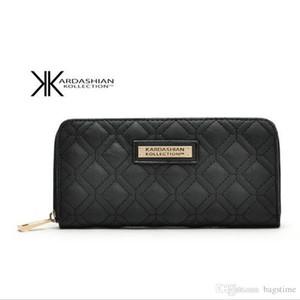 Nuevo Blanco Negro Kk Monedero Diseño Largo Carteras de Mujer de Cuero de LA PU Kim Kardashian Kollection Alto Grado Embrague Zipper Monedero Bolso