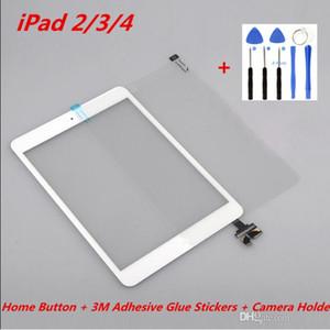 Para iPad 2 3 4 Táctil Ensamblaje de digitalizador de pantalla original con botón de inicio + Pegatinas adhesivas adhesivas 3M + Soporte para cámara + Reparación de herramientas