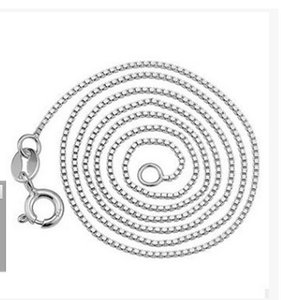 45CM Silver Plated Box Chain Necklace Plated 925 Silver Lockbone Chain 100PCS