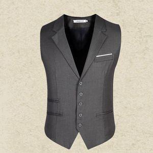 Wholesale- Black Gray suit vest mens 2016 slim Men's gentleman Waistcoat blazer Tops  clothing Business Sleeveless Suit Dress Vest man