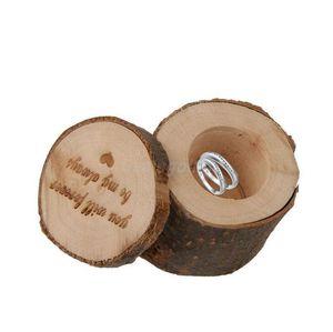One piece Wedding Ring Ring Box деревенский потертый шик деревянная коробка обручальное кольцо на предъявителя Box фотографии реквизит круглый творческий Свадебный декор WT039