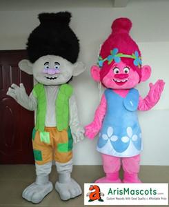 Yetişkin komik Trolls karakter için Haşhaş ve Şube maskot kostüm doğum günü partisi satılık karikatür maskot kıyafetler özel maskotlar arismascots