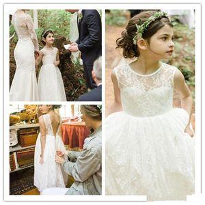 2020 Nuovo Hot gonfi ragazze di fiore Vestiti da matrimonio gioiello collo maniche piena del merletto Backless Piano Lunghezza compleanno spettacolo Comunione Dress