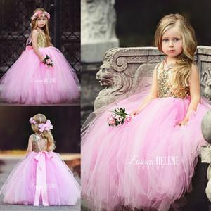 Puffy Pink Tulle Little Girls Pageant Dresses Top Dorado Lentejuelas Longitud Flower Muchacha Vestido Bow Sash Formal Kids Ball Bows 2017