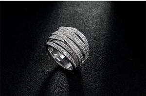 Originality Luxury Inlaid Cz Diamond 14KT White Gold Filled Ring Engagement Wedding Band Finger Promise Ring