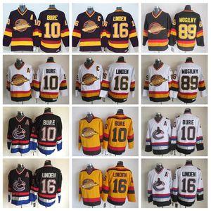 16 Trevor Linden Trikot Herren Vancouver Canucks Vintage CCM Hockey Trikots 10 Pavel Bure 89 Alexander Mogilny Genäht Schwarz Weiß
