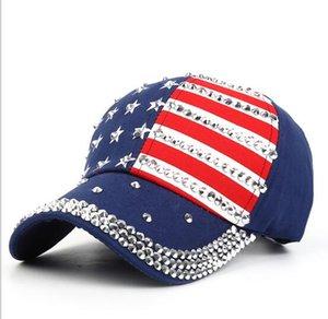 Дизайнер бейсболки шапки Лето американский флаг Hiphop Hat Мода Rhinestone Cap Snapback Бал Hat Досуг Sun Hat