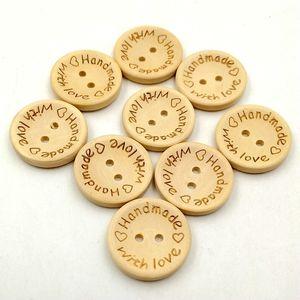 25mm Botones De Madera 2 agujeros redondos amor corazón para Caja de Regalo hecho a mano Scrapbook Craft Party Decoration DIY favor Accesorios de Costura