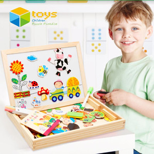 Venta al por mayor- Juguetes educativos de madera de rompecabezas magnético multifuncional para niños Niños Jungla de animales Jigsaw Animal Tablero de dibujo Dibujo Caballete