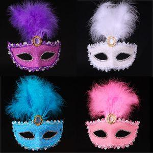 Kadın Boyalı Tüy Masquerade Maske Venedik Maske Cadılar Bayramı Çatlak Kapak Karnaval Maskeleri Mezuniyet Bar Partisi Gösterisi Yüz Maskeleri