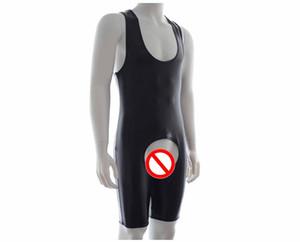 Erkek Seksi Iç Çamaşırı Açık Crotch Mayo Erkekler Açık Popo Deri Crotchless Mayo Siyah Kostüm Yüzme Suit B0410035