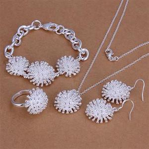 Bijoux de mode définit 925 collier en argent bague boucle d'oreille et bracelet charme feux d'artifice bijoux pour les femmes pas cher 5sets / lot
